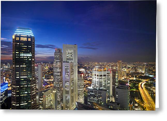 Emergence Greeting Cards - A Night Scene Of The Skyline Greeting Card by Justin Guariglia