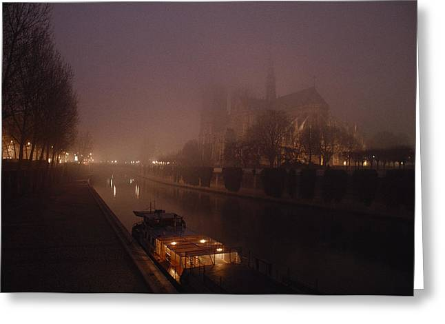 A Night View Across The Seine Towards Greeting Card by James L. Stanfield