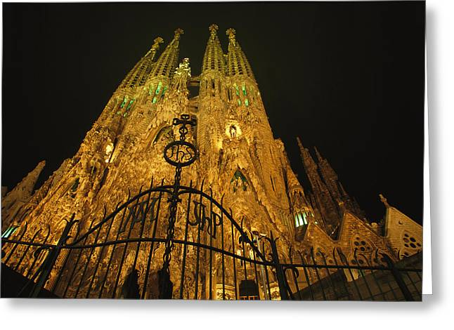 Gateway Church Greeting Cards - A Night View Of Gaudis Temple Expiatori Greeting Card by Michael Melford