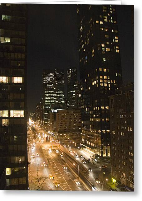 Place Of Business Greeting Cards - A Night View Of New York City Greeting Card by Taylor S. Kennedy