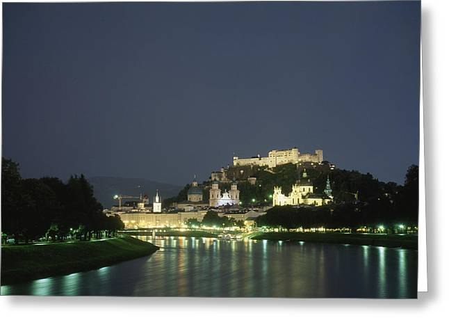 Salzburg Greeting Cards - A night view of Salzburg Greeting Card by Taylor S. Kennedy