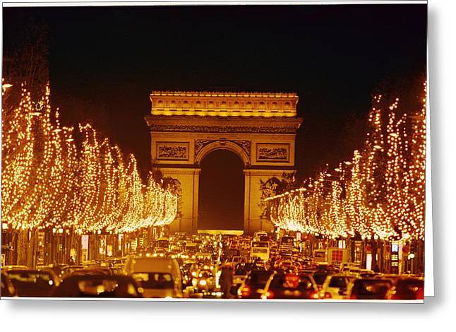 Champs Greeting Cards - A Night View Of The Arc De Triomphe Greeting Card by Nicole Duplaix