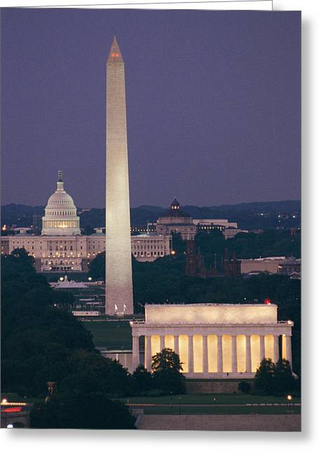 Best Sellers -  - Monolith Greeting Cards - A Night View Of The Lincoln Memorial Greeting Card by Richard Nowitz