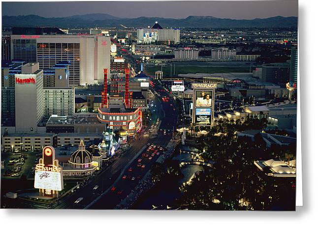 City Lights And Lighting Greeting Cards - A Nighttime Aerial View Of The Strip Greeting Card by Maria Stenzel