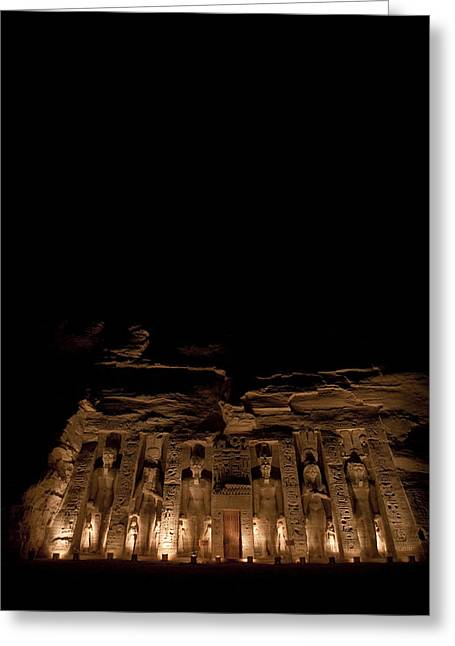 Statue Portrait Photographs Greeting Cards - A Nighttime View Of Nefertaris Temple Greeting Card by Taylor S. Kennedy