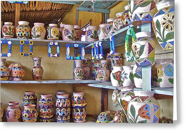 A Oaxaca Pottery Shop Greeting Card by Michael Peychich