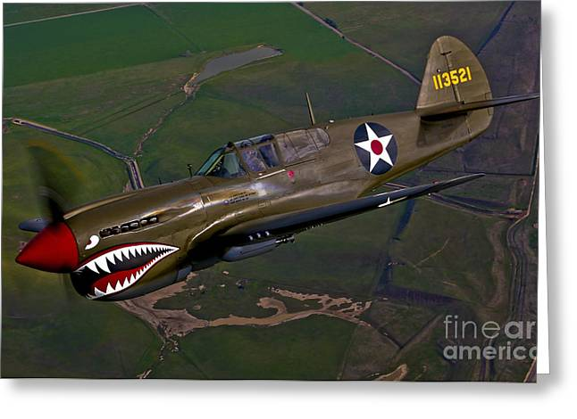 Livermore Greeting Cards - A P-40e Warhawk In Flight Greeting Card by Scott Germain