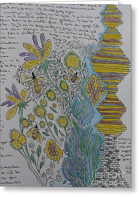 Journal Drawings Greeting Cards - A Page from my Journal Greeting Card by Heather Hennick