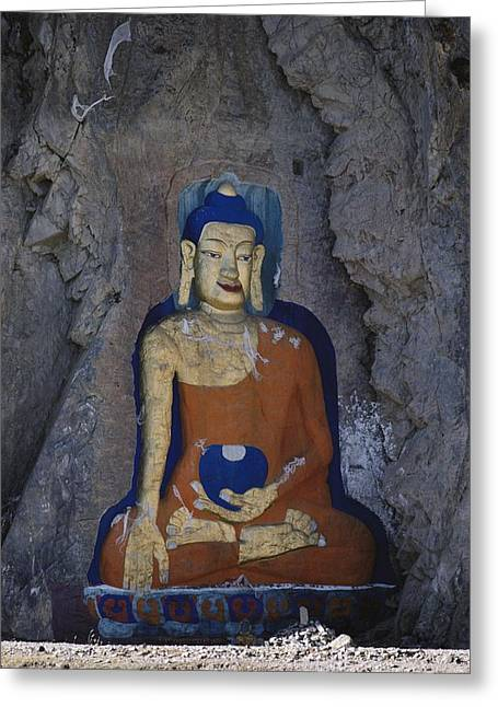 Sculptures Of Deities Greeting Cards - A Painted Stone Buddha Near Lhasa Greeting Card by Gordon Wiltsie