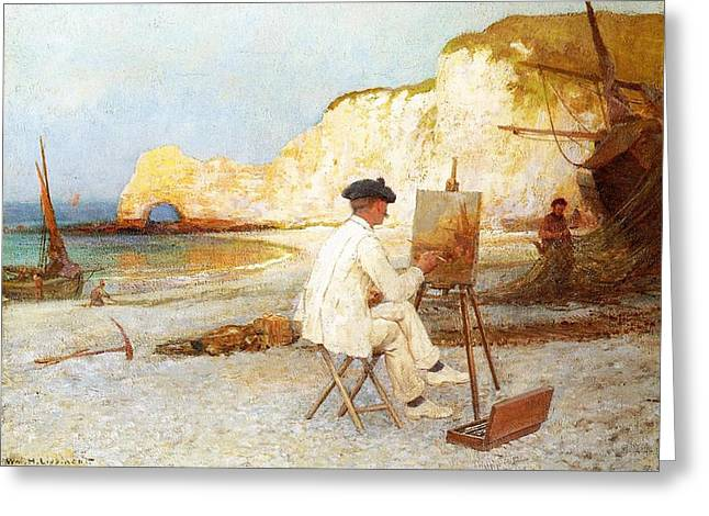 Henry Greeting Cards - A Painter by the Sea Side Greeting Card by William Henry Lippincott