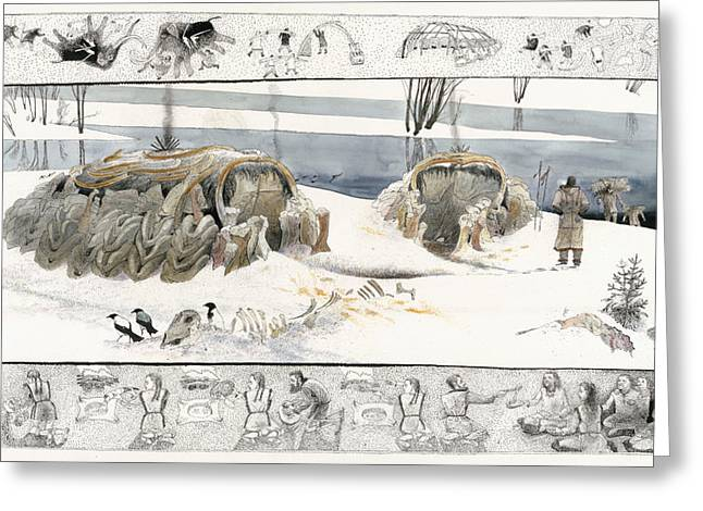 Unruh Greeting Cards - A Painting Depicts Ice Age People Greeting Card by Jack Unruh