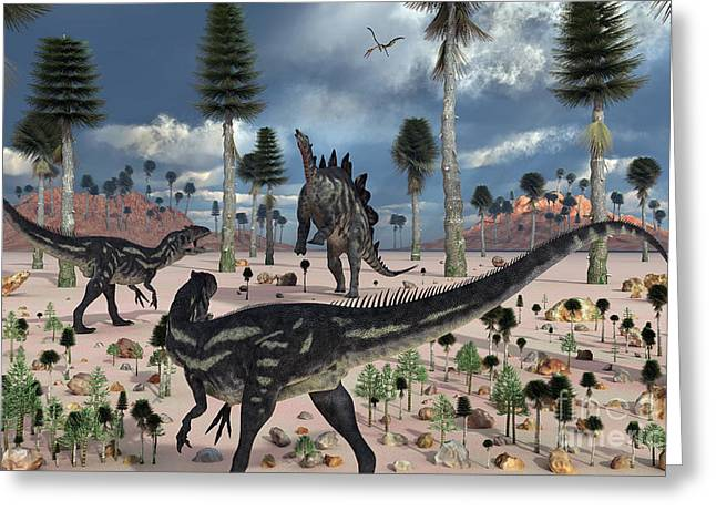 Saurischia Greeting Cards - A Pair Of Allosaurus Dinosaurs Confront Greeting Card by Mark Stevenson