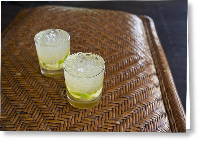 High Noon Greeting Cards - A Pair Of Caipirinhas At Matemo Island Greeting Card by Jad Davenport