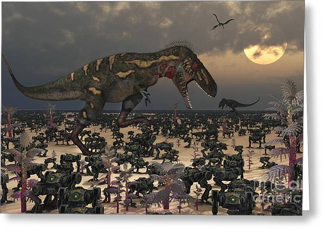 Angry Crowd Greeting Cards - A Pair Of Nanotyrannus Amongst An Greeting Card by Mark Stevenson