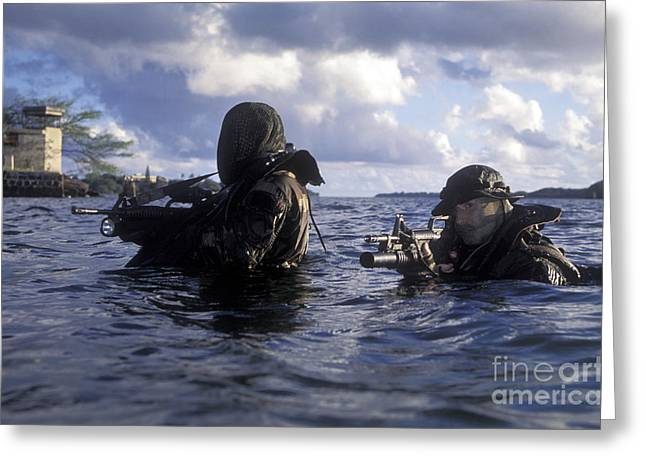 Netting Greeting Cards - A Pair Of Navy Seal Combat Swimmers Greeting Card by Michael Wood