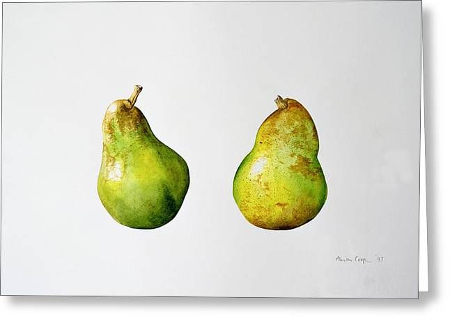 Fruits Greeting Cards - A Pair of Pears Greeting Card by Alison Cooper