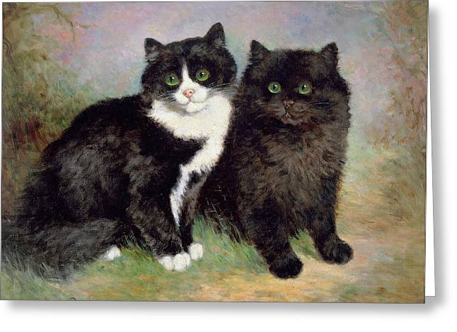 Pussy Paintings Greeting Cards - A Pair of Pussy Cats Greeting Card by Lilian Cheviot