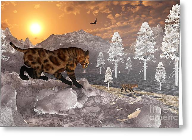 The Tiger Greeting Cards - A Pair Of Sabre Tooth Tigers Experience Greeting Card by Mark Stevenson