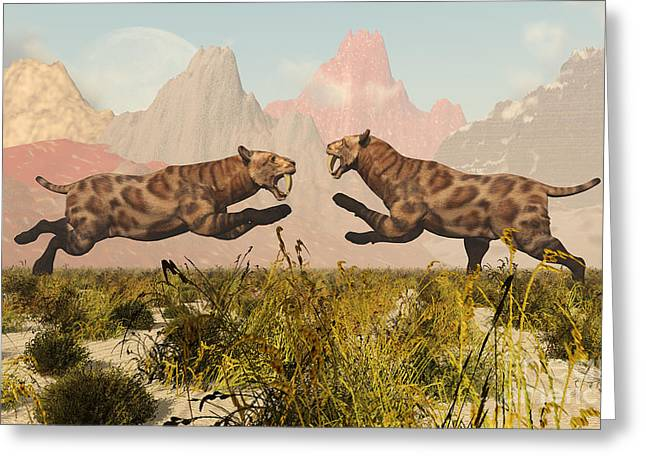 The Tiger Greeting Cards - A Pair Of Sabre Tooth Tigers In A Fight Greeting Card by Mark Stevenson