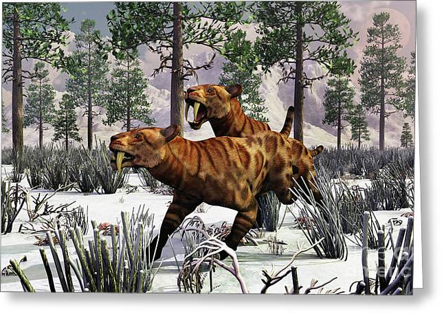 The Tiger Greeting Cards - A Pair Of Sabre-toothed Tigers Hunting Greeting Card by Mark Stevenson