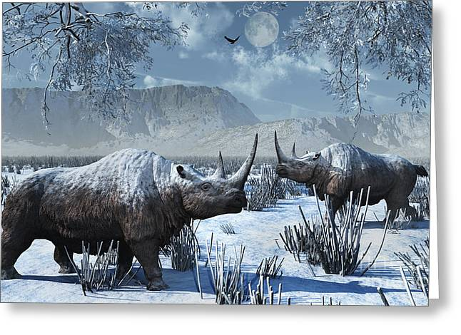 Grazing Snow Greeting Cards - A Pair Of Woolly Rhinoceros In A Severe Greeting Card by Mark Stevenson