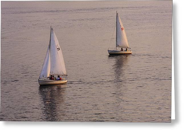 Sailboat Photos Greeting Cards - A Pair Greeting Card by Rick Berk