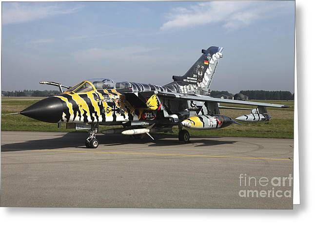 Stripe.paint Greeting Cards - A Panavia Tornado Aircraft With Special Greeting Card by Timm Ziegenthaler