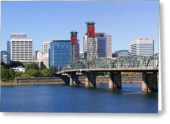 Downtown Portland Greeting Cards - A panorama of downtown Portland Oregon Hawthorne bridge. Greeting Card by Gino Rigucci