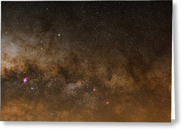 Swans... Greeting Cards - A Panorama Of The Milky Way Greeting Card by Luis Argerich