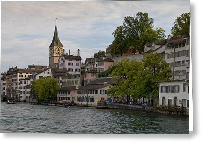 A Panorama View Of Zurich Greeting Card by Greg Dale