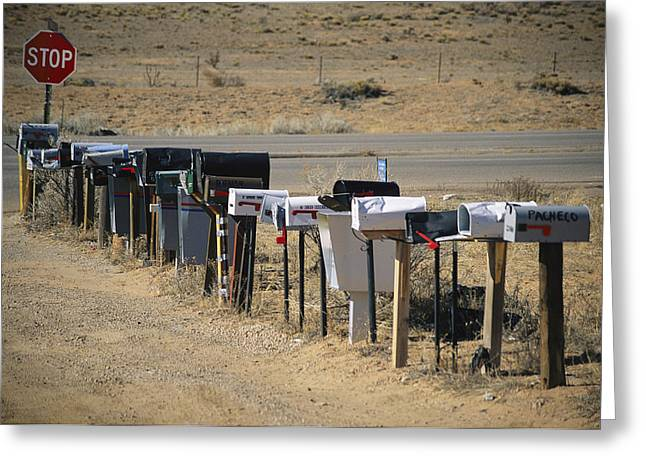 Ways Of Life Greeting Cards - A Parade Of Mailboxes On The Outskirts Greeting Card by Stephen St. John