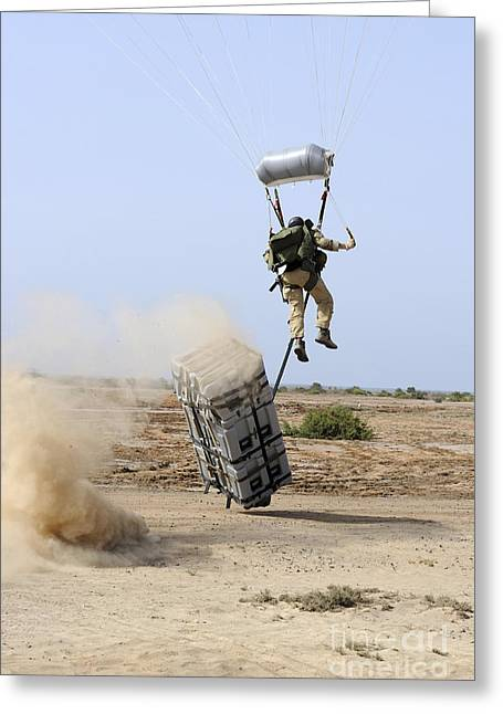 A Pararescueman Drops Into The Zone Greeting Card by Stocktrek Images
