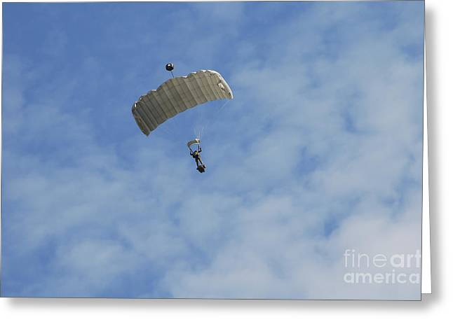 Air Component Greeting Cards - A Paratrooper Of The Belgian Army Greeting Card by Luc De Jaeger