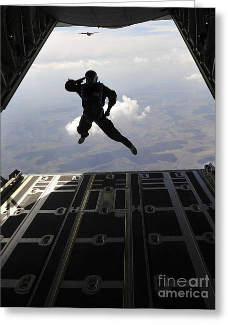 Romania Photographs Greeting Cards - A Paratrooper Salutes As He Jumps Greeting Card by Stocktrek Images