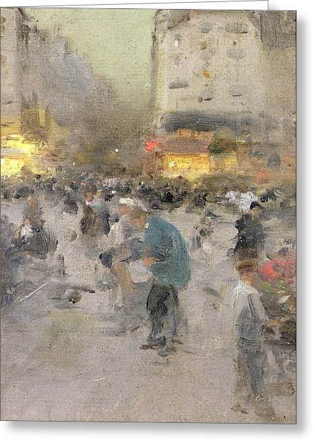 Blur Paintings Greeting Cards - A Paris Street Scene Greeting Card by  Luigi Loir