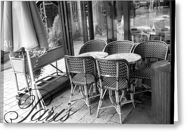 Chaise Greeting Cards - A Parisian Sidewalk Cafe in Black and White Greeting Card by Jennifer Holcombe