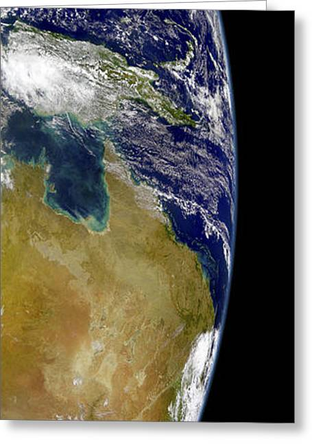 Planet Earth Greeting Cards - A Partial View Of Earth Showing Greeting Card by Stocktrek Images