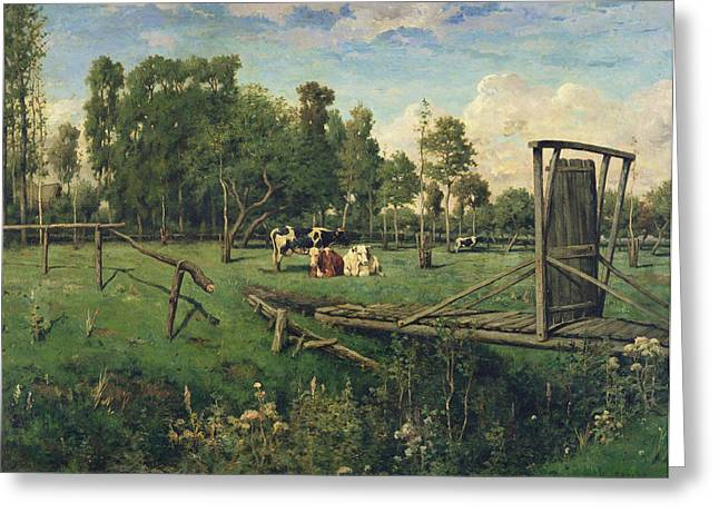 Ramshackle Greeting Cards - A Pasture in Normandy Greeting Card by Constant-Emile Troyon