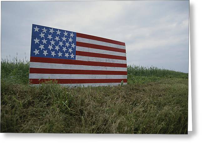 American National Flag Greeting Cards - A Patriotic Farmers Roadside American Greeting Card by Stephen St. John