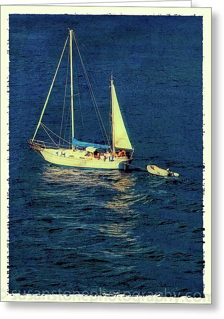 Aged Print Greeting Cards - A Peaceful Day for Sailing Greeting Card by Susan Stone