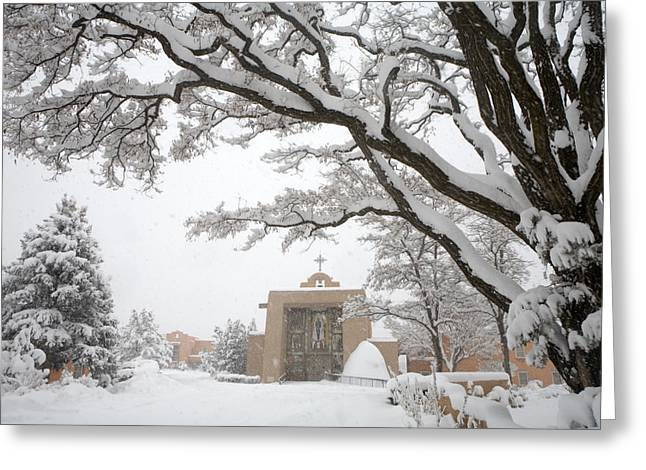 Cristo Greeting Cards - A Peaceful Winter Scene Greeting Card by Ralph Lee Hopkins