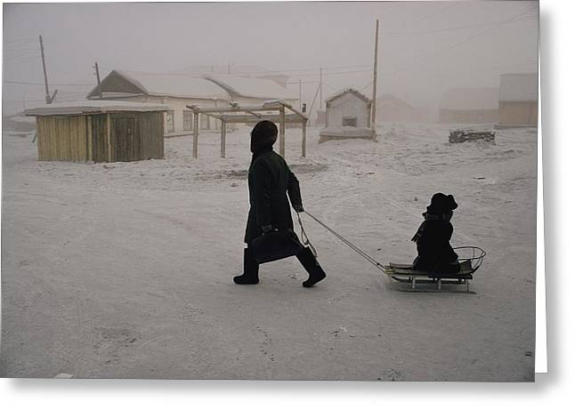 National Children Greeting Cards - A Person Pulls A Child On A Sled Greeting Card by Dean Conger