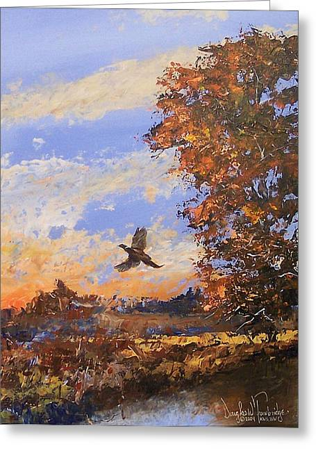Illustration Jewelry Greeting Cards - A Pheasent at Sundown Greeting Card by Douglas Trowbridge