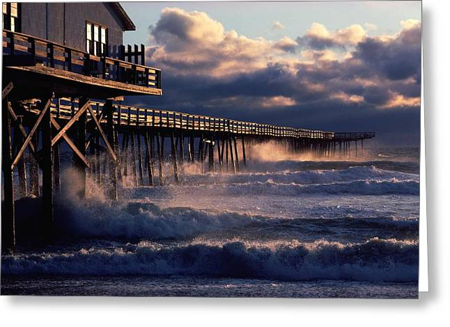 Etc. Greeting Cards - A Pier At Nags Head Is Pounded By Early Greeting Card by David Alan Harvey