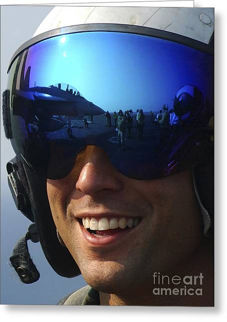 F-18 Greeting Cards - A Pilot Smiles As He Watches Squadron Greeting Card by Stocktrek Images