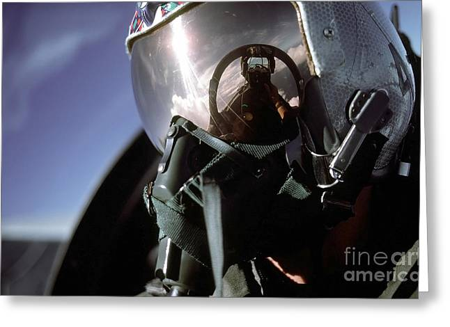 Self-portrait Photographs Greeting Cards - A Pilot Takes A Self-portrait While Greeting Card by Stocktrek Images