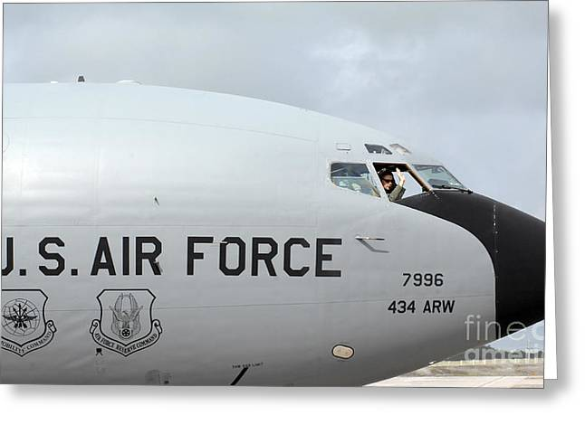 Guam Greeting Cards - A Pilot Waves Farewell From A Kc-135r Greeting Card by Stocktrek Images
