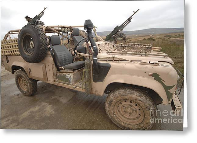 A Pink Panther Land Rover Desert Patrol Greeting Card by Andrew Chittock
