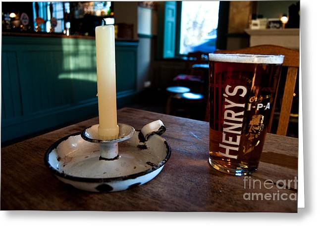 Bier Greeting Cards - A pint of Henrys Greeting Card by Rob Hawkins