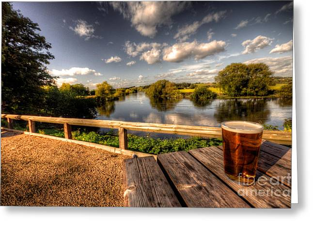 Cerveza Greeting Cards - A Pint With A View  Greeting Card by Rob Hawkins